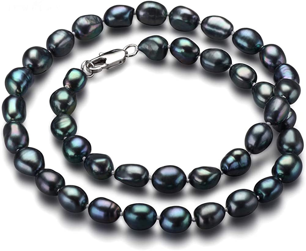 HENGSHENG Black Freshwater unisex Cultured Max 70% OFF Baroque S Pearl 925 Necklace