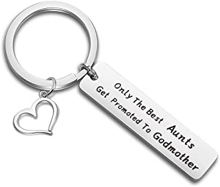 TGBJE Gift for Aunt Godmother Keychain Only The Best Aunts Get Promoted to Godmother Keychain Hand Stamped Jewelry