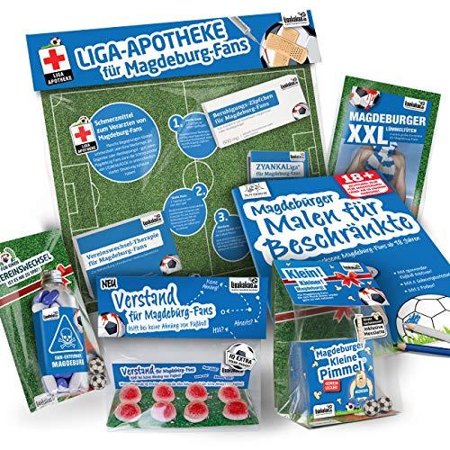 Madgeburg Trainingshose ist jetzt KLEINE PIMMEL Set 2: MAXIMAL-Spass-Paket by Ligakakao.de blau-weiß Herren Uhlsport Jogging lauf-Hose Trainingsanzug