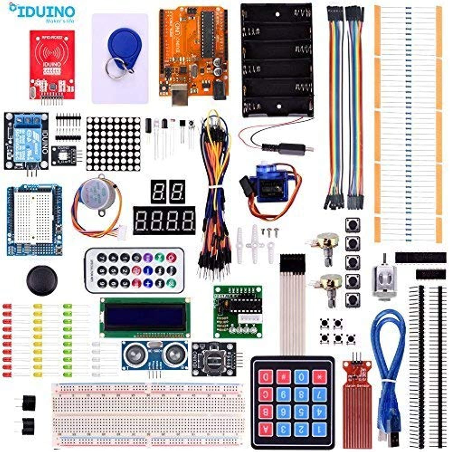 Iduino Projects Kit for Arduino Uno Program Learning Electronics Starter Kit,Designed for Teens Beginner Advanced Make DIY Robotics with Uno R3 33 Lessons Tutorial with Sample Sketches