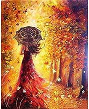 لوحة فنية برسمة امراة الخريف، يتم طلاؤها يدوياً من خلال الارقام بالوان زيتية هدية فنية جدارية حديثة