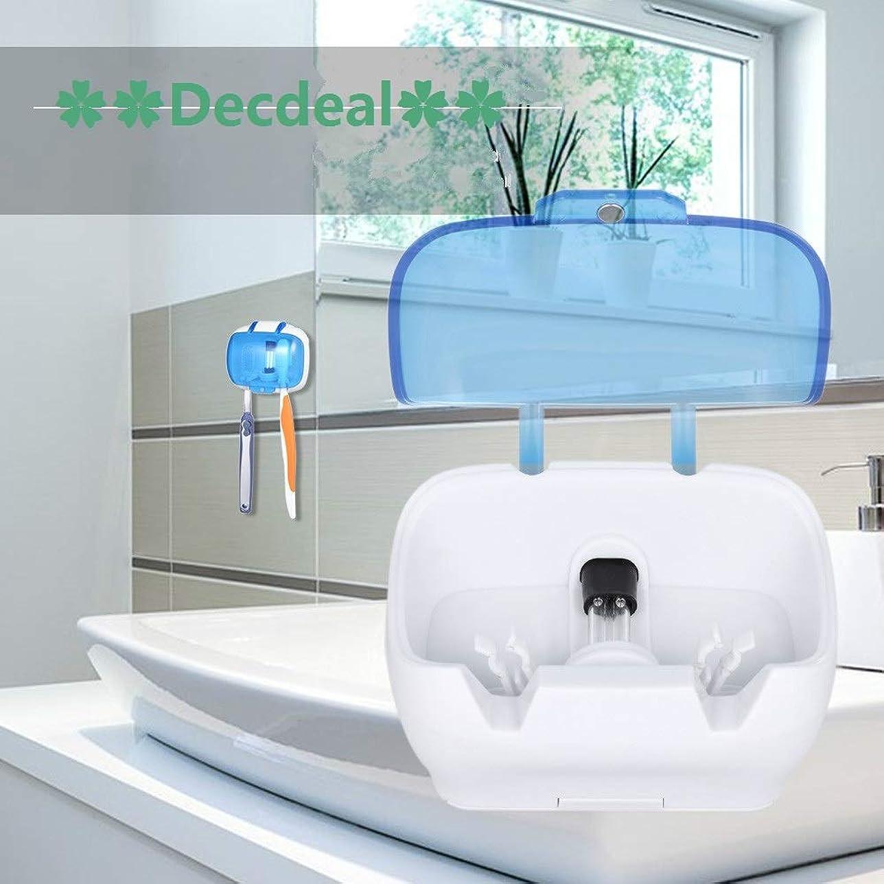 アラート害製作Decdeal UV滅菌キャビネット 多機能消毒クリーンツール プロフェッショナル ネイルアート機器トレイ 温度殺菌ツール 5W 220V USプラグ (歯ブラシUV消毒ボックス)