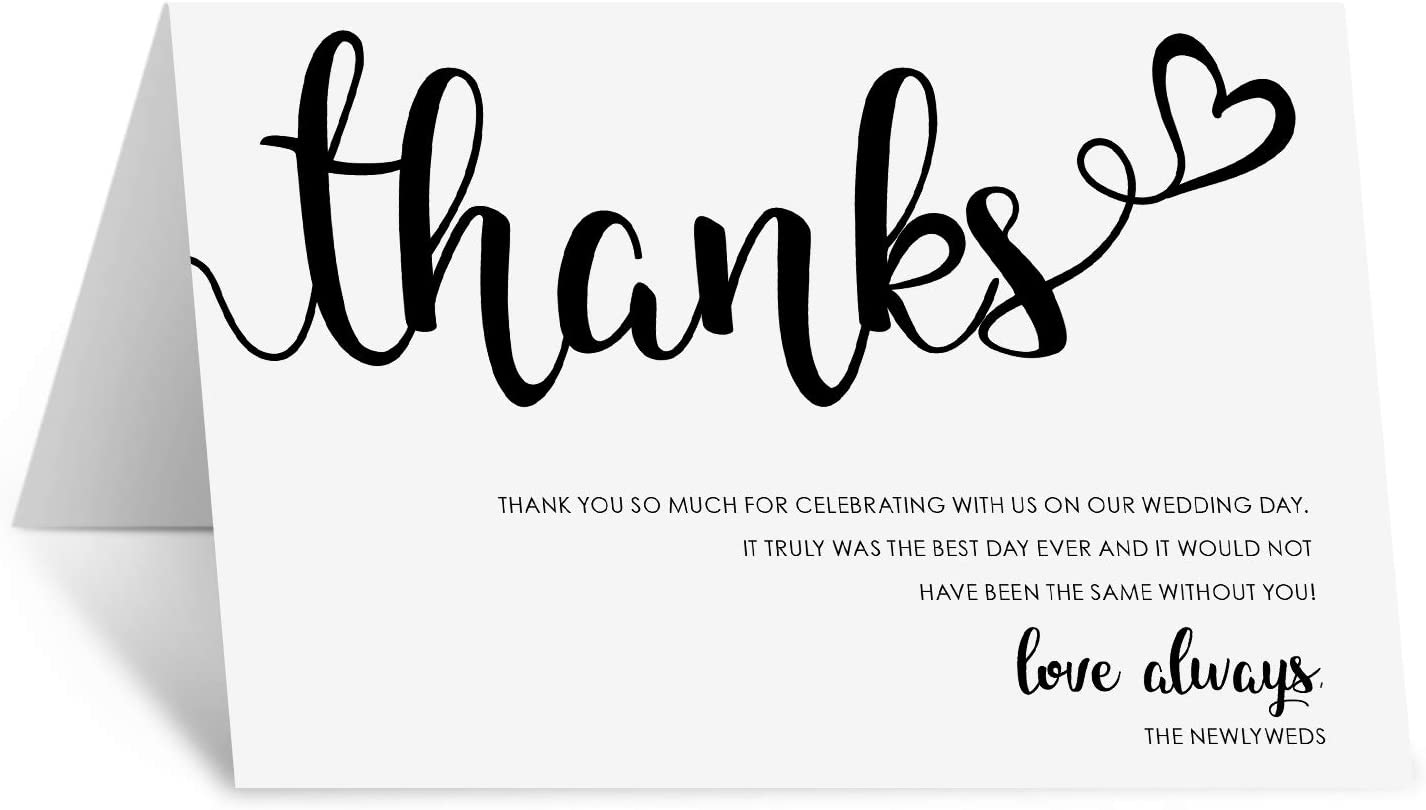 Set of 50 Elegant Black and White Large 4 x 6 Table Place Setting Cards 321Done Thank You Placecards for Wedding Minimalist Script Made in USA