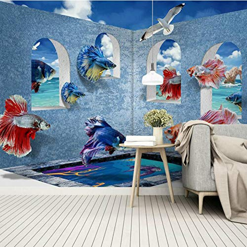 3D Behang voor Wanddecoratie Achtergrond Schilderij 3D Middellandse Zee Guppies muurschilderingen Wallpapers 200×150cm