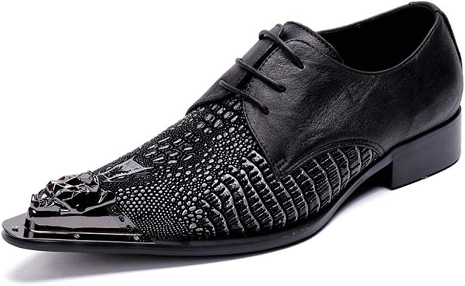 Mens shoes Leather Smart Formal shoes Fashion Business Dress shoes Metallic Toe Driving shoes for Wedding Casual Party & Evening Black YAN (color   Black, Size   43)