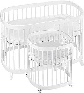 tweeto Babybett Kinderbett 7-in-1 Plus | bis zu 10 Funktionen | inkl. atmungsaktiver Matratze Weiß