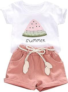 YOUNGER TREE Toddler Baby Girls Clothes Watermelon T-Shirt + Linen Shorts with Belt Cute Summer Short Set