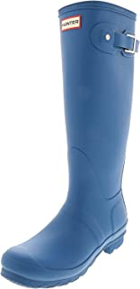 HUNTER Women's Original Tall Knee-High Rubber Rain Boot - 8M - Matte Ocean Blue
