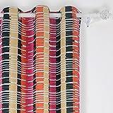 Deconovo - Cortinas Opacas con Ojales horizontales para habitación de los niños, 42 x 95, Color Naranja, Negro y Rojo