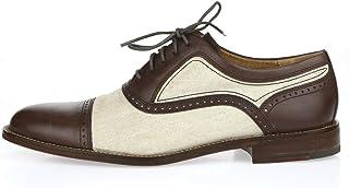 Cole Haan Rollins حذاء أوكسفورد من الجلد والقماش ذو مقدمة مدببة عند الأصابع، بني/بيج، مقاس 9 متوسط