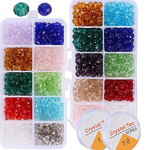 (6mm+4mm) 1500pz Perline Cristallo Sfaccettato Colorate + (5m*1mm) 2 Rotoli Filo Elastico Bianco Perle Vetro Acrilico con Scatola per Fai da Te Braccialetti Gioielli Collane Bigiotteria Tenda