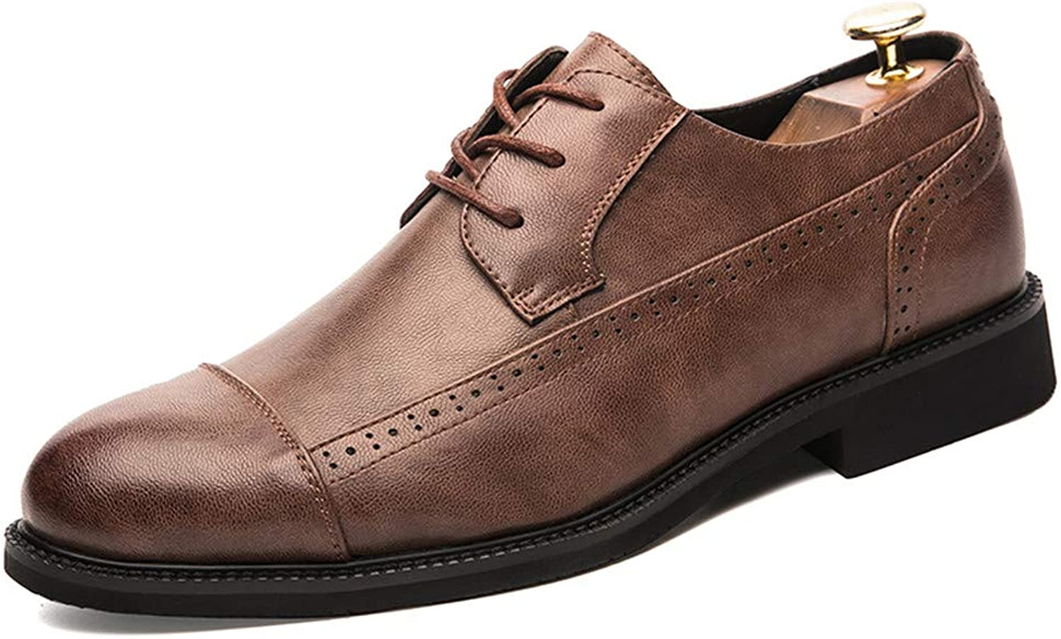 SRY-shoes Men's Classic Business Oxford Casual New Line with Breathable Flat Low-top Softness Brogue shoes