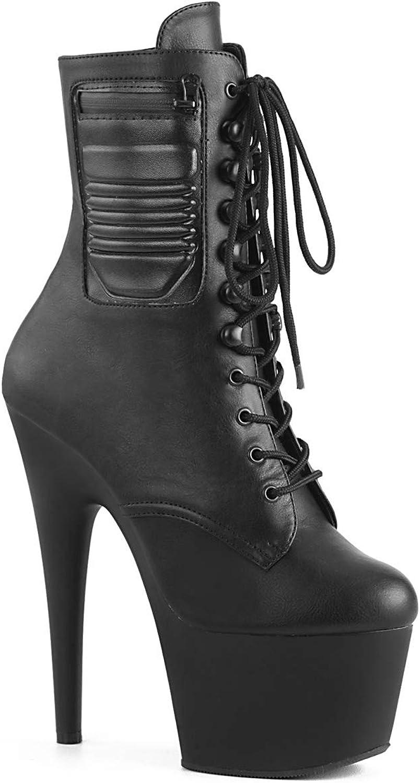 PLEASER-ADORE-1020PK-Black Faux Leather Black Matte-6