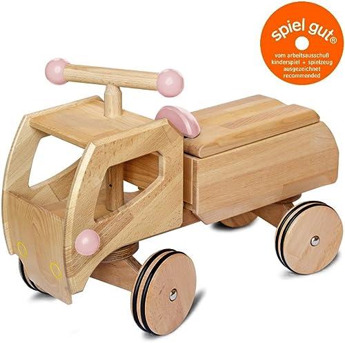 Buchenblitz Holz Rutscher Frot - LKW, Lastwagen, Aufsitzer, Rutschauto, Kinder ab 1 Jahr (Rosa)