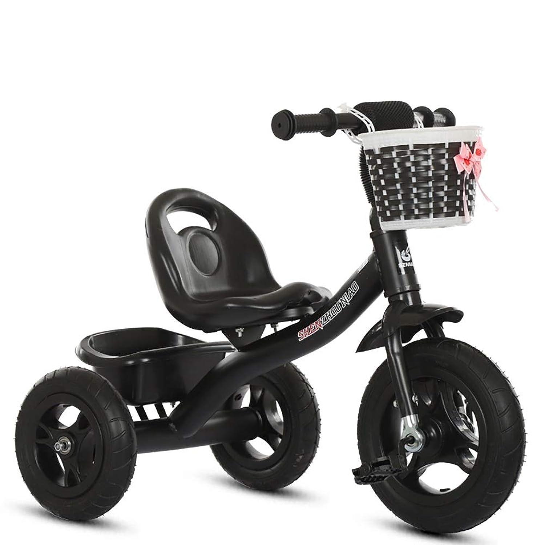 三輪車- 子供用幼児、子供用三輪車(収納ボックス付き)、調節可能シート (色 : ブラック)