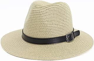 Hats and Caps Adjustable Travel Summer Sun Starw Hat for Women Men Foldable Brim Trilby Bowler 2019 (Color : Beige, Size : 56-58CM)