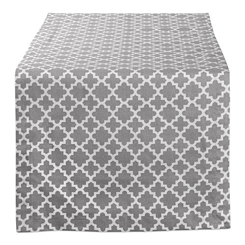 DII Lattice Cotton Table Runner for Dining Room, Foyer Table, Summer Parties and Everyday Use - 14x72, Gray and White