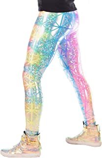 Revolver Fashion Holographic Meggings: USA Made Men's Disco Leggings. Fun Music Festival Clothing