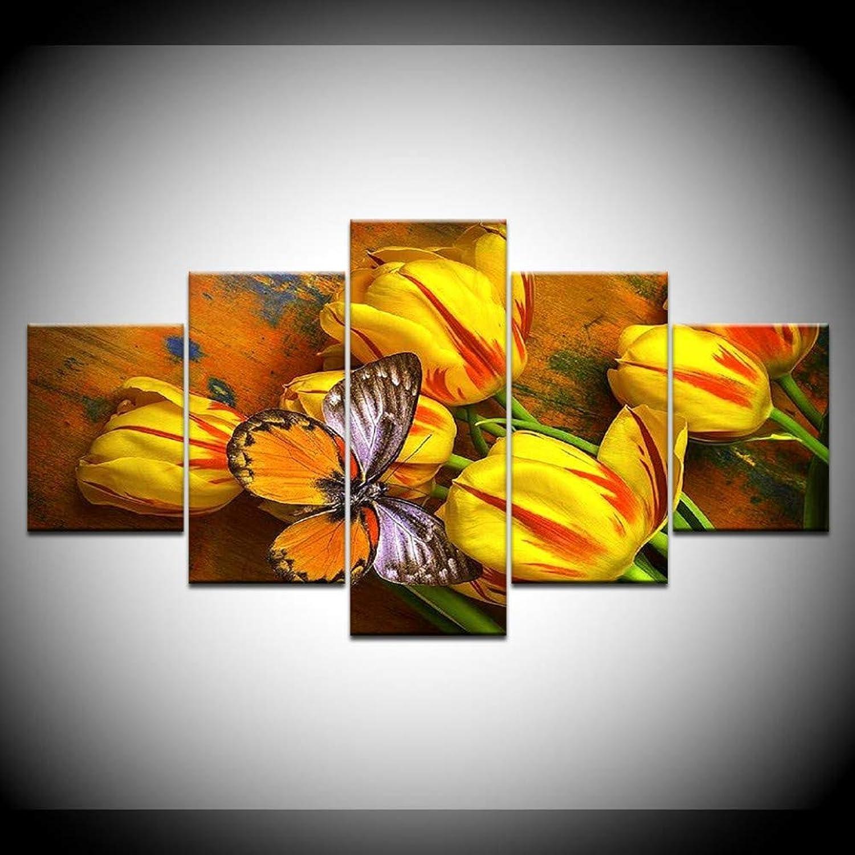 marca famosa Giow Lienzo Arte de la la la Parojo Fotos decoración para el hogar 5 Unidades Tulipanes Amarillos y Mariposas HD Imprime Flores Cochetel Marco Modular  alto descuento