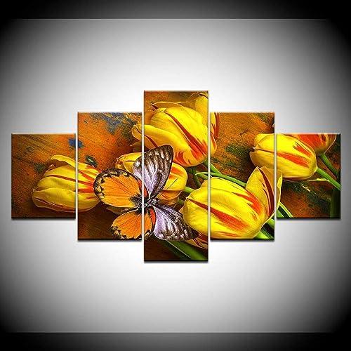 punto de venta en línea Giow Lienzo Arte de de de la Parojo Fotos decoración para el hogar 5 Unidades Tulipanes amarillos y Mariposas HD Imprime Flores Cartel Marco Modular  promociones de equipo