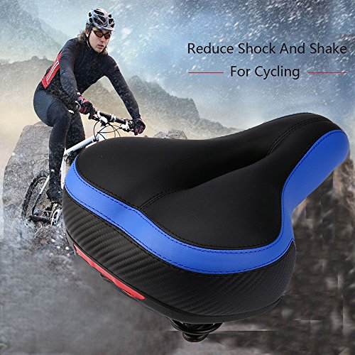Bike Seat, Most Comfortable Bicycle Seat Memory Foam Waterproof Bicycle Saddle - Dual Shock Absorbing - Best Stock Bicycle Seat Replacement for Mountain Bikes, Road Bikes (Blue)