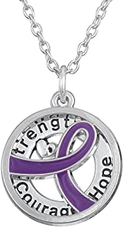 Purple Cancer Awareness Ribbon Cause Pendant Strength Courage Hope Necklace Survival Trendy Jewelry