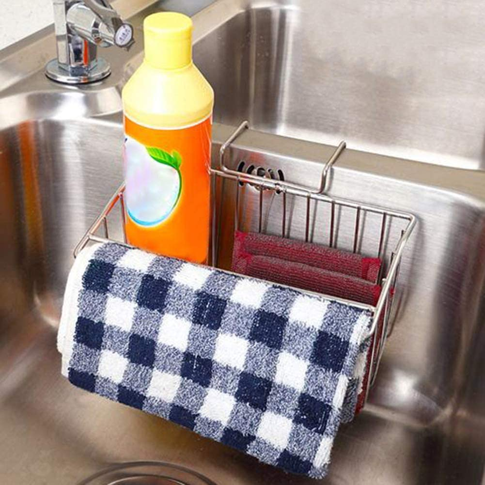 LovePlz Stainless Steel Wall Mounted Hanging Sink Drain Basket Sponge Soap Holder Rack,Easy to Use Convenient Tools for Home Buckle Drain Basket