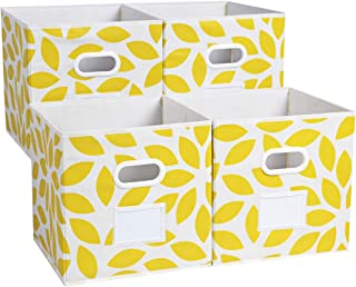 MAX Houser Fabric Storage Bins Cubes Baskets Containers with Dual Plastic Handles for Home Closet Bedroom Drawers Organizers, Foldable, Set of 4 (Yellow)