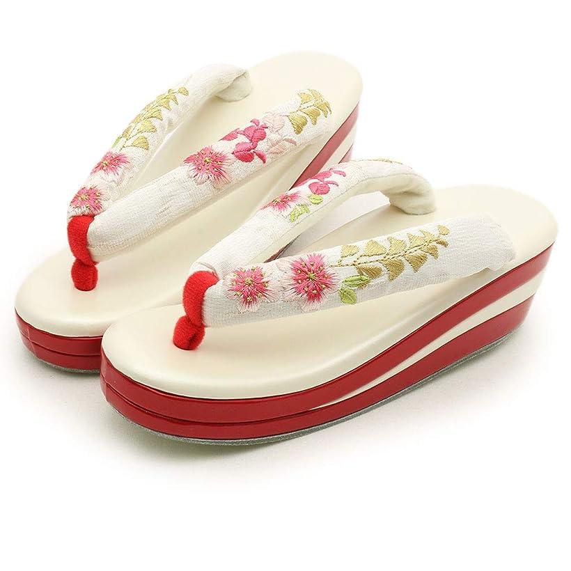 こどもセンターチャールズキージングキャベツ(キステ)Kisste 草履 振袖用 フリーサイズ<白?アイボリー/桜と藤刺繍> 7-1-05962