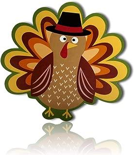 Orange, Green, Red, Brown, Yellow Circle Fall Autumn Harvest Turkey Bird Pilgrim Thanksgiving Holiday Season Seasonal Tapestry Table Placemats Made of 100% Vinyl [1 Unit] + Certificate