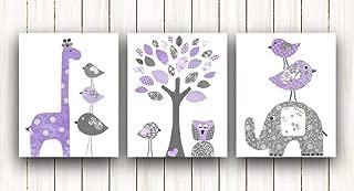Nursery decor kids wall art - Baby Girl Nursery Art - Set of three prints - Elephant Owl Tree Birds purple and gray