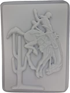 Cowboy on Horse Concrete Plaster Stepping Stone Mold 1017