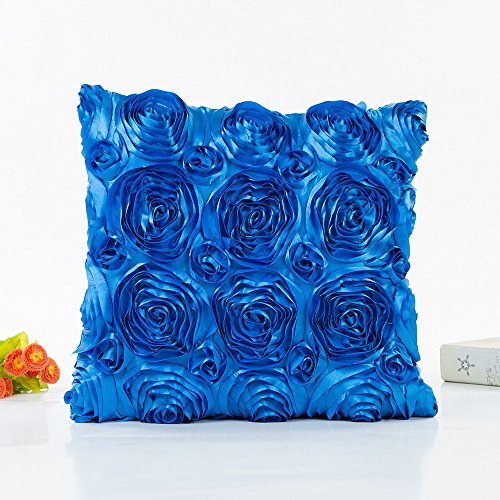 Shan-S 3D Decorative Romantic Stereo Chiffon Rose Flower Pillow Cover Solid Square Throw Pillow Covers Pillowcase for Sofa Bedroom Car Romantic Love Satin Rose Wedding Party Home Decor 18x18 Inch