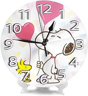 挂钟 史努比 Snoopy 挂钟 台式时钟 圆形 连续秒针 静音 电池式 房间装饰 木制 室内 时尚 礼物 礼物 直径约25厘米