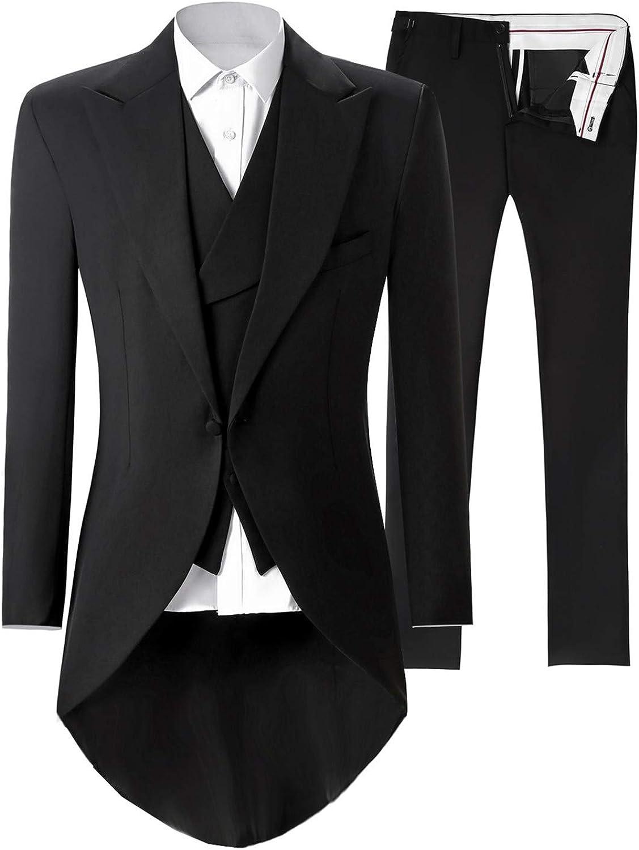 Frank Men's Tuxedo Tail 3 Pieces Suit Tailcoat Jacket Tux Vest & Trousers