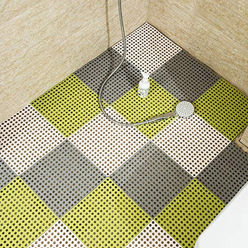Hcxbb-e PVC-badkamermat, anti-slip naaien DIY keuken badkamermat waterdichte drainage vloer-voet-badkamermat 30x30cm (kleur: J, maat: 4 stuks)