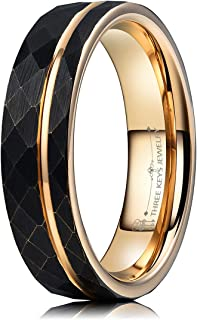 Three Keys Jewelry Mens Womens Tungsten Rings 4mm 6mm 8mm Hammered Facet Brushed with Rose Gold Stripe Wedding Bands