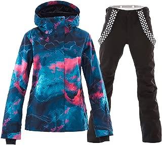 Women's Waterproof Ski Jacket Colorful Snowboard Jacket and Bib Pant Suit