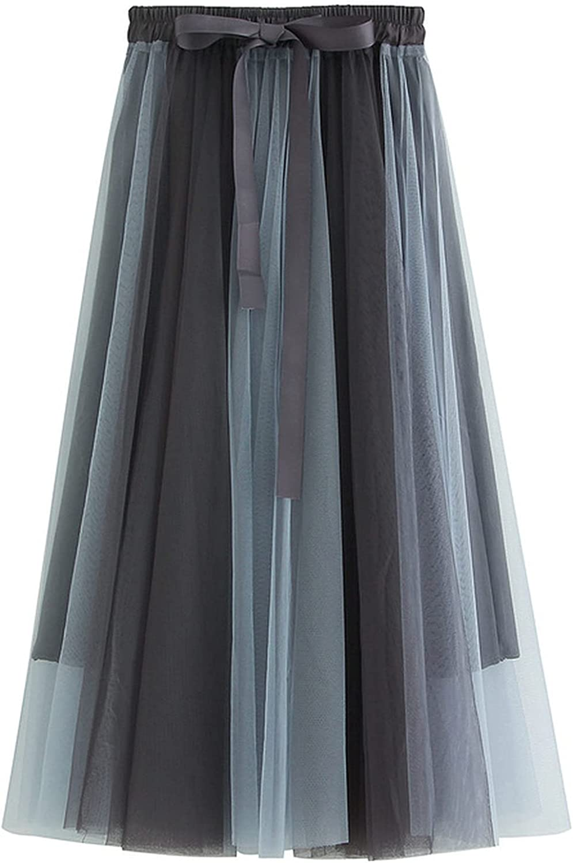 MEWOW Women's High Bowtie Waist Color Block Mesh A Line Midi Long Pleated Skirt