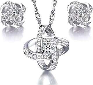 Uloveido Silver Color Love Knot Jewelry Criss Cross Earrings and Necklace Sets, Cubic Zirconia Anniversary Jewelry Sets for Women, Fashion Wedding Jewelry Set for Bridal WHE43