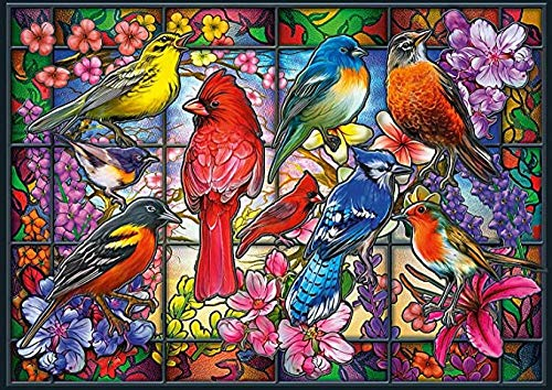 YIPINQUAN Jigsaw Puzzles 1000 Pieces for Adults and Kids Stained Glass Songbirds Wooden Puzzle Educational Toys Home Decor Wall Art