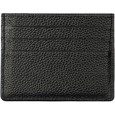 Hibate RFID Blocking Genuine Leather Unisex Slim Credit Card Case Holder Debit Wallet Sleeve - Black