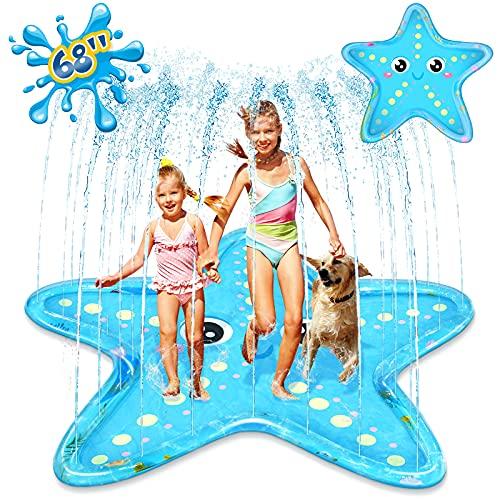 Splash Pad Sprinkler for Kids, iBaseToy 68' Starfish Splash Play Mat Inflatable Paddling Pad for Summer Outdoor Backyard Lawn, Tropical Sprinkler Pad Water Toy for Children Infants Toddlers Boys Girls