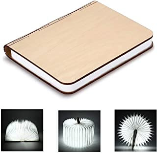 Idearsen Wooden Folding Book Light 500 lumens Up to 8 Hours for Decor/Desk/Table/Wall Magnetic Lamp, Novelty Book Style LED Night Light, Bright White, Warm White (Bright White)