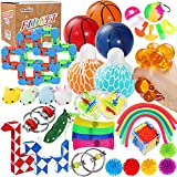 Max Fun 36 Pack Sensory Fidget Toys Set Bundle Stress Relief Anti-Anxiety Tools Toys for Kids Adult Children Autistic Squeeze Ball Bean, Marble Mesh, Flippy Chain, Grape Ball, Maze Cube