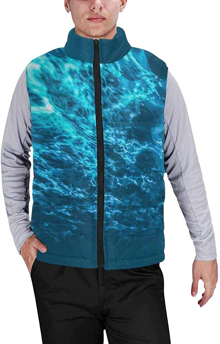 InterestPrint Men's Full-Zip Padded Vest Jacket for Outdoor Activities Ugly Witch Flying over Cemetery