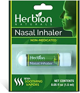 Herbion Naturals Nasal Inhaler Non-Medicated, 0.05 Fl Oz (1.5ml) with Menthol, Clove Oil, Eucalyptus Oil & Camphor – Clears Nasal Congestion & Blockage, Sinusitis & Allergic Conditions