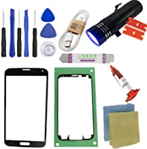 for Samsung Galaxy S5 Screen Replacement, Sunmall Front Outer Lens Glass Screen Replacement Repair Kit for Samsung Galaxy S5 SV G900 G900A G900P G900R4 G900T G900V with UV Glue UV Torch (Black)