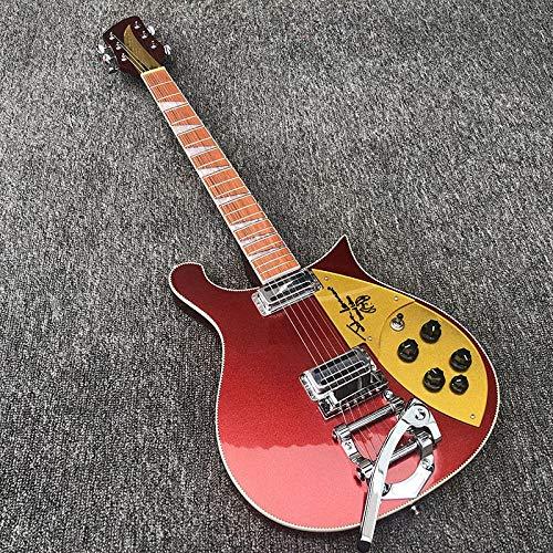 HQYYDS 6 Cuerdas De Guitarra Eléctrica El Cuello De La Guitarra Eléctrica Pasa A Través del Cuerpo De Metal del Cuerpo De Pintura Roja De Metal, con Un Escudo Dorado. Guitarra