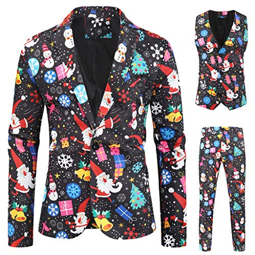 Herren Anzug Regular Fit Business Anzüge 3-Teilig Anzugjacke Anzughose Weste Weihnachtsanzüge für Herren in Verschiedenen Drucken Smoking Slim Fit Party Sakko 1920`s Blinders (XL, D)